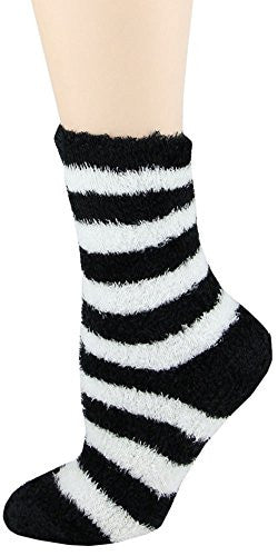 Microfiber Fuzzy Socks choice of Lime Green, Merlot, Coco, Emerald Green by Foot Traffic,One Size,Black/White Big Stripe
