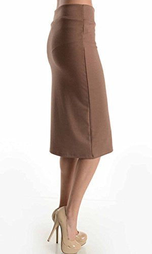 Azules Women's below the Knee Pencil Skirt - Made in USA (Mocha Mousse / Large)