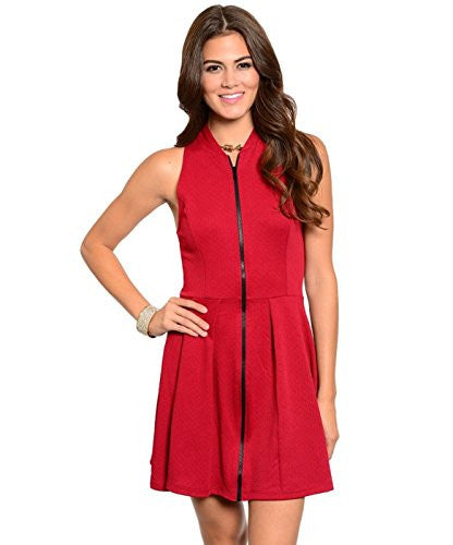 Solid Zip Front Dress - Burgundy, Medium