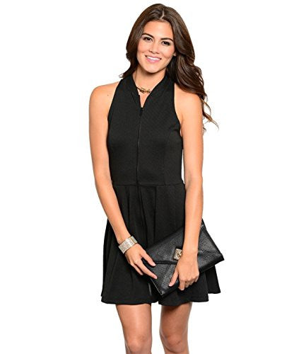 Solid Zip Front Dress - Black, Medium
