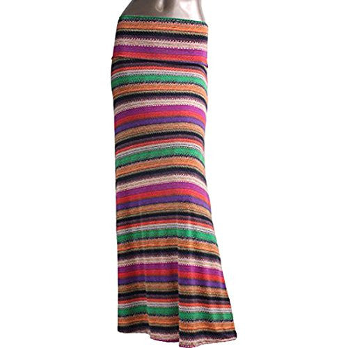 Azules Women's Maxi Skirt -Stretchy, Soft Fabric (E66 / Large)