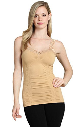Corset Look Lace Cami Top, Camel - One Size