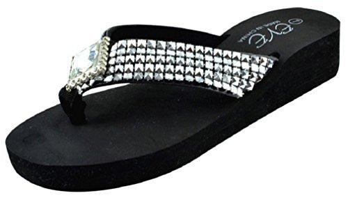 Wholesale Women's Wedge Rhinestone Look Flip Flops, All Black, Size 8
