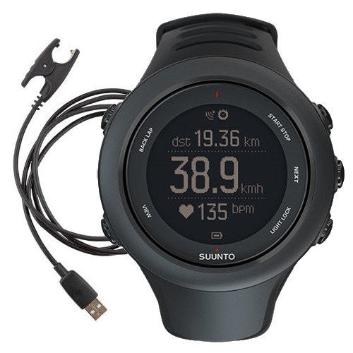 Suunto Ambit3 Sport GPS Watch (Black with Spare Powercable Bundle (2 total included))