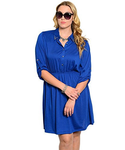Studded Collar Button Tab Sleeve Shirred Dress - Royal Blue, X-Large