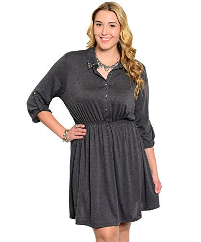 Studded Collar Button Tab Sleeve Shirred Dress - Charcoal, 2X-Large