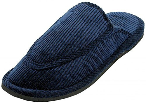 Wholesale Men's Corduroy House Slippers, Navy, Size 13