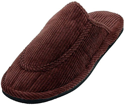 Wholesale Men's Corduroy House Slippers, Brown, Size 11