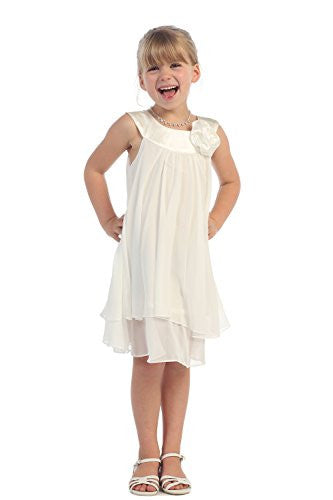 High-Multi Chiffon A-Line Dress with Satin Bib Neckline - Ivory, Size 6