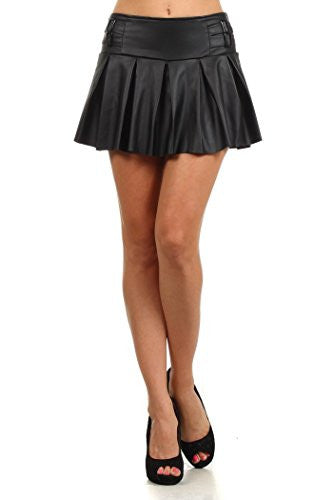 Yelete Faux Leather Pleated Skirt, Belt Buckle