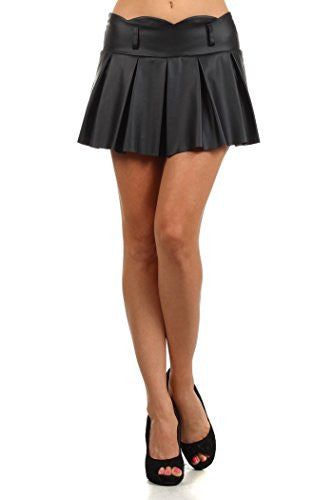 Yelete Faux Leather Pleated Skirt, Scallop