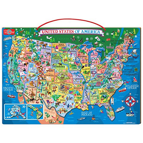 Wooden Magnetic Map of the United States Puzzle
