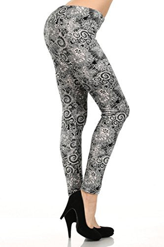 Yelete Black & White Swiss Lace Stretch Velour Printed Leggings