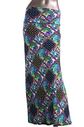 Azules Women's Maxi Skirt -Stretchy, Soft Fabric (F13 / Small)