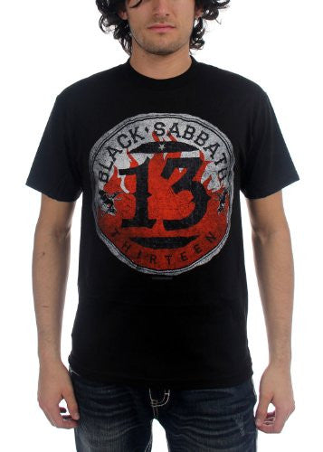 Black Sabbath - Mens 13 Flame Circle T-Shirt in Black, Size: X-Large, Color: Black
