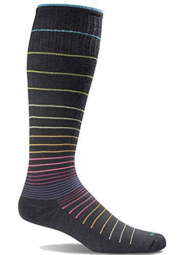 Women's Graduated Compression Moderate Compression W's Circulator - Stripe (15-20 mmHg - light cushion), Black - Stripe, Small/Medium