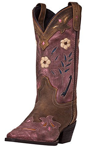 Miss Kate Women's Brown/Pink All Leather Snip Toe, 8.5B (M) US