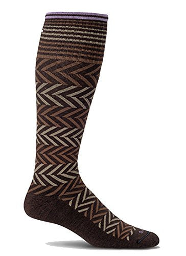 Women's Graduated Compression Moderate Compression Circulator - Chevron (15-20 mmHg - light cushion), Espresso, Medium/Large