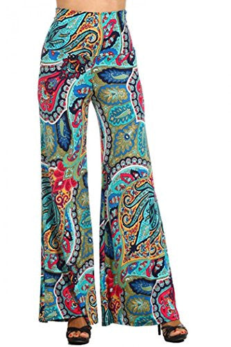 Paisley print, high waist palazzo pants, Teal, X-Large