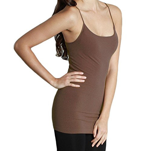 Seamless Spaghetti Strap Long Camisole - 23 Taupe, One Size