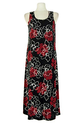 BNS Long Tank Dress Sleeveless - Burgundy, Large