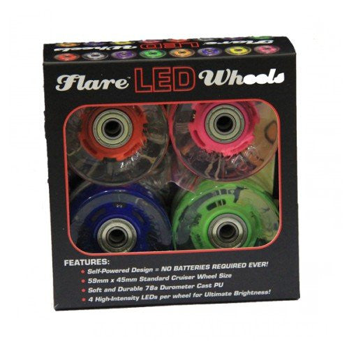 Hippy 4-pack - 59mm/78a CruiserWheels Blue/Green/Red/Pink with ABEC-9