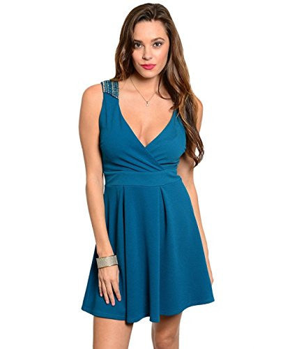Solid Embellished Shoulder Dress - Teal, Small
