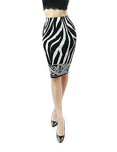 Hera Collection, Zebra and Inca Knit Knee Length Midi Pencil Skirt, Black/White, Small