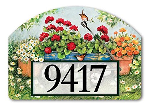 "Geraniums by the Dozen Yard DeSign, 14"" x 10"""