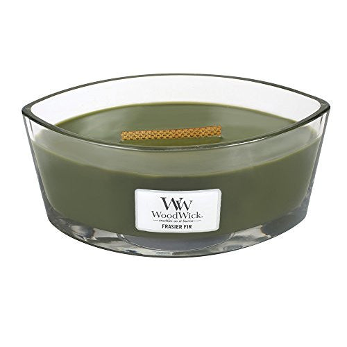 "WoodWick Frasier Fir Ellipse Jar Hearthwick Flame Scented Candle, 7.5"" x 4.75"" x 3.63"""