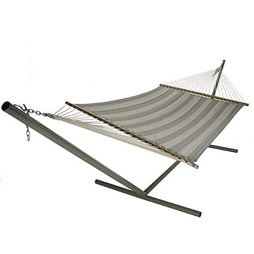 Large Quilted Fabric Hammock - Decade Pewter