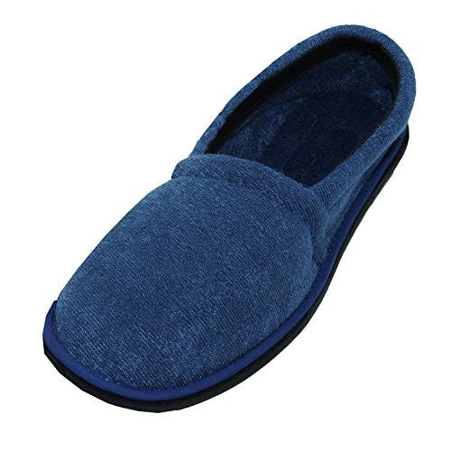 Wholesale Men's Terry House Slippers, Navy, L, Size 11/12