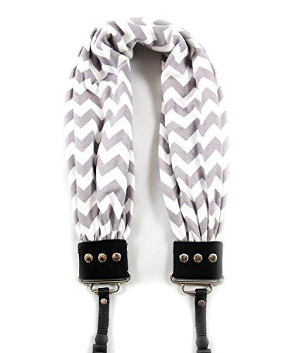 SCARF COLLECTION -  DSLR CAMERA STRAPS - CHEVRON GREY