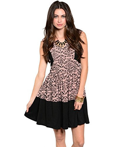 Two-Tone Antique Print Pit and Flare Dress - Black/Peach, Small
