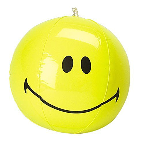 Lot Of 12 Inflatable Yellow Smile Smiley Face Beach Ball - 16""
