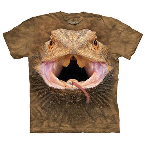 Big Face Bearded Dragon, Loose Shirt - Brown Children X-Large