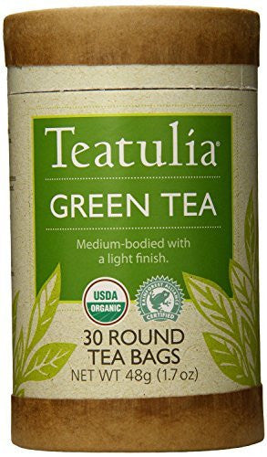 Teatulia Organic Green Tea Round Teabags 30 Count (Pack of 6)