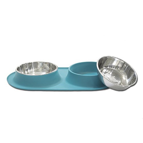 Messy Mutts - Double Bowl Silicone Feeders - X-Large, Blue