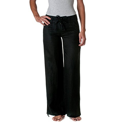 Wide Leg Drawstring Linen Pants, Black, Small