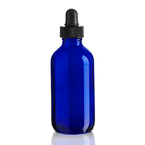 4 oz. Blue Glass Bottle with Dropper Top
