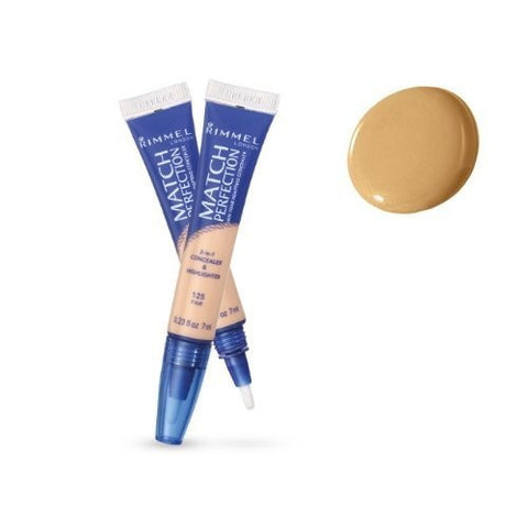 (Pack 2) Rimmel Match Perfection 2-in-1 Concealer and Highlighter, Medium