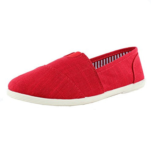 Soda Object-S Flats-Shoes, Red Linen, 5