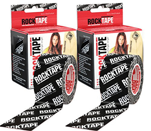 RockTape Kinesiology Tape for Athletes - 2-Roll Gift Pack, H2O Black Logo