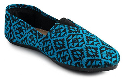 Wholesale Women's Canvas Printed Canvas Slip On, Diamond Print, Blue, Size 10