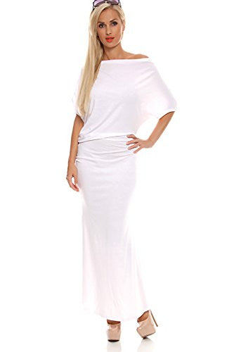 Of The Shoulder Sleeve Maxi Dress - White, Size X-Large