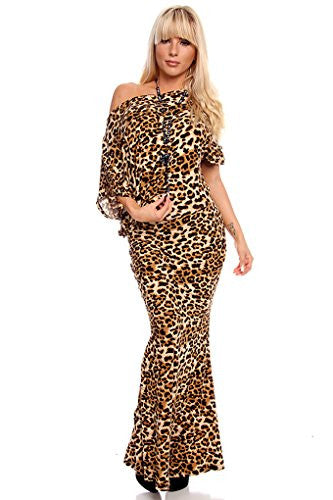 Of The Shoulder Sleeve Maxi Dress - Leopard, Size X-Large