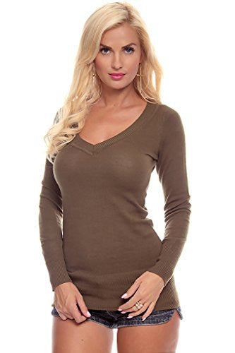 V Neck Ribbed Trim Sweater Knit Sweater  Top - Olive, Small