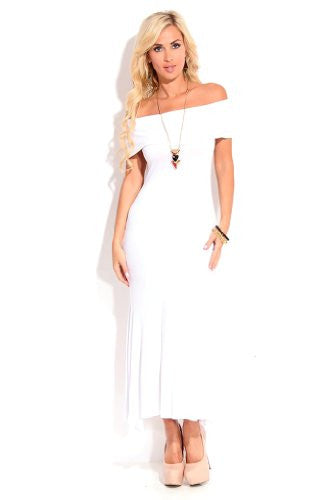 Off Shoulders Short Sleeves Long Maxi Dress - White, Size X-Large