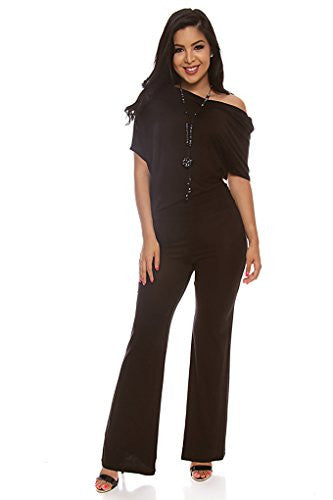 Off the Shoulder Long Romper Jumpsuit - Black, X-Large