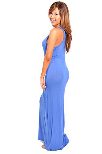 Scoop Neck Racer Back Stretchy Long Maxi Dress - Royal Blue, Medium